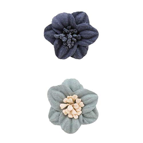 Womens Trendy Cloth Flower Corsage Brooch Pin For Wedding Party With Box | Color - Gray Green