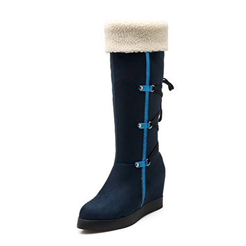 Toe Heels Mid 36 AmoonyFashion High Solid Top Royalblue Imitated Womens Closed Boots Suede Round qzI14wanTx