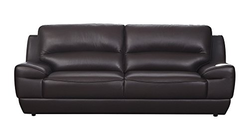 American Leather Sectional (American Eagle Furniture Stratton Collection Italian Grain Leather Living Room Sofa with Pillow Top Armrests, Dark)