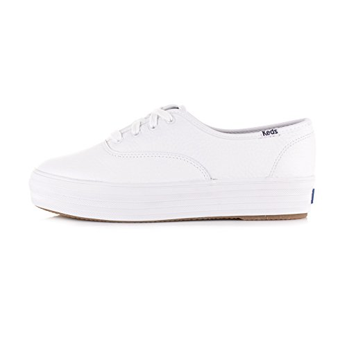 Keds Dames Triple Leather Fashion Sneaker Wit Met Zwart Detail