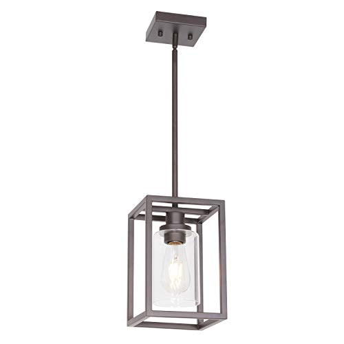 VINLUZ Single Modern Glass Pendant Light Metal Classic Oil Rubbed Bronze with Clear Glass Shade Fixture for Foyer Kitchen Entryway Dining ()