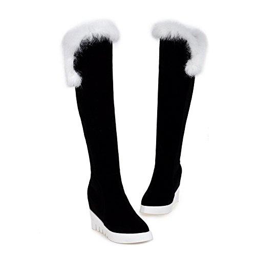 AllhqFashion Damen Hoher Absatz Gemischte Farbe Überknie Hohe Stiefel Stiefel, Weiß, 34