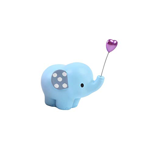 - Asien Elephant Cake Decor Blue with Balloon Birthday Favor Resin Craft Table Ornament Mini Elephant Figurine