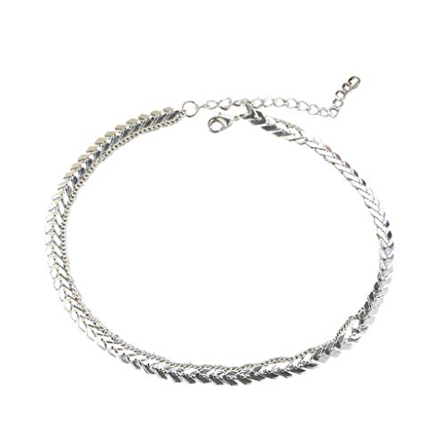 Fashion Necklace for Women WoCoo Adjustive Collar de mujer Long Fish-bone chain Charm Jewelry Gifts for Ladies Girls(Silver,Birthday/Anniversary/Gifts)