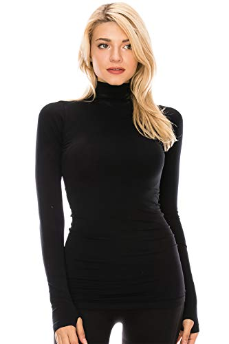 Kurve Womens Long Sleeve Mock Neck Warm T-Shirt, UV Protective Fabric UPF 50+ (Made with Love in The USA) Black