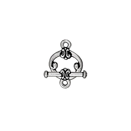 Pewter Scroll - TierraCast Toggle, 12mm, Scroll Antiqued Fine Silver Plated Pewter, 2-Pack