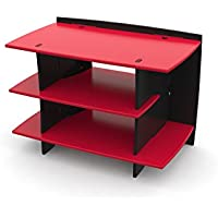 Legare Kids Gaming and TV Stand, Storage Unit, Red and Black