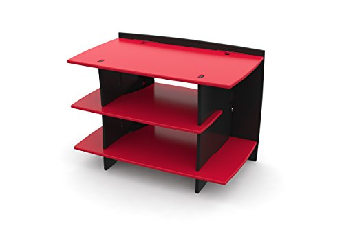 Legaré Kids Furniture Race Car Series Collection, No Tools Assembly Gaming Center Stand, Red and Black by Legare Furniture