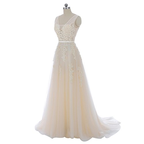 Appliques Evening Womens V Ivory Annies Gowns neck Double Tulle Bridal Long Cocktail q1R8Yng