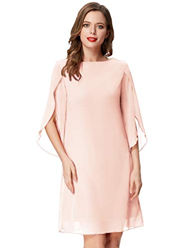 GRACE KARIN Women Loose Evening Dress 3/4 Sleeve Beach Chiffon Dress Cocktail Pale Pink S