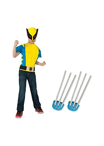 Wolverine Boys Muscle Shirt and Claws Boys Costume Set (Wolverine Muscle Costume)