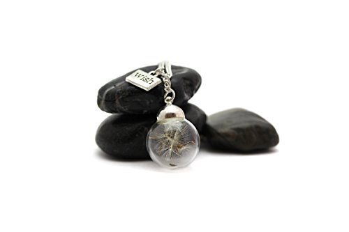 Glass Wish Pendant Necklace With Real Dandelion Seeds (Bohemian Glass Necklace)