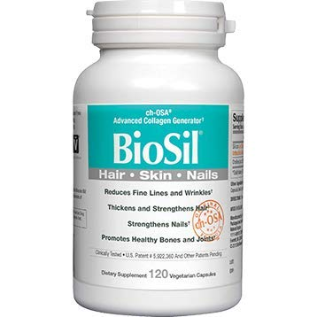 BioSil by Natural Factors, Hair, Skin, Nails, Supports Collagen Production to Help Reduce Wrinkles, Vegetarian, 120 Capsules (120 Servings)