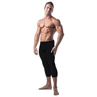 Copper Compression Mens Capri Pants. Leggings, Tights, Capris, Pant for Men (Large - Waist 35-38) Black