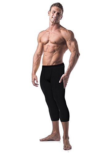 Copper Compression Mens 3/4 Capri Pants. Leggings, Tights, Capris, Pant for Men (Medium - Waist 30-34) Black