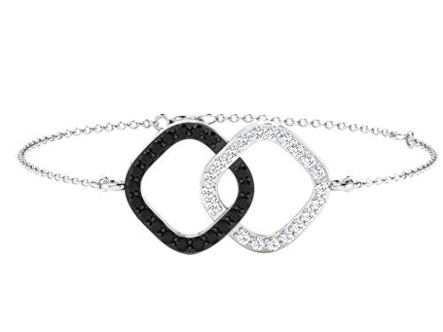 Libertini bracelet argent 925 femme plaque or Jaune serti de Diamant en forme de Ca...