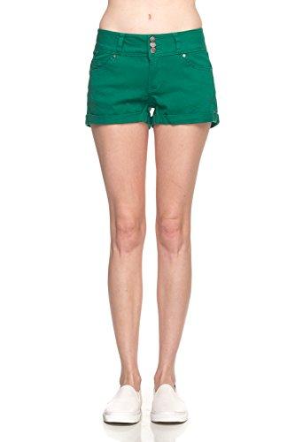 Calilogo Women's Fashion Denim Jean Stretchy Shorts Regular and Plus Sizes (Small, Deep Green - Green Denim