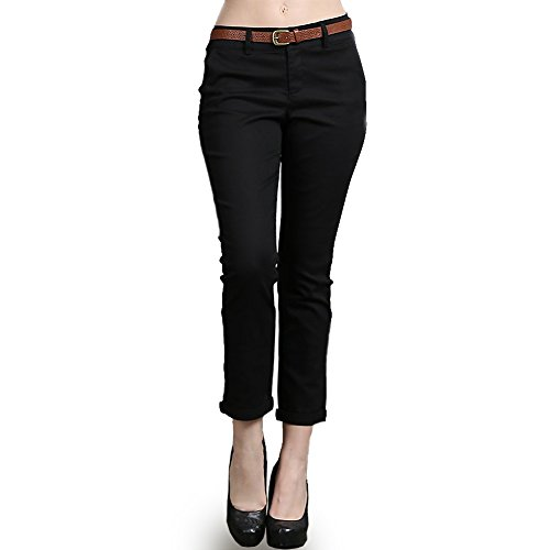 Color Swatch New Women's Stretch Cotton Button Trim Zipper with Belt Cropped Capri Pants M, - Sale Swatch For