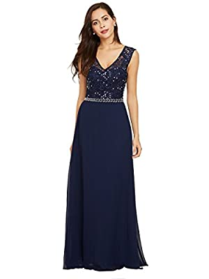 Sisjuly Women's Beaded Lace Chiffon Prom A-line V Neck Evening Dresses
