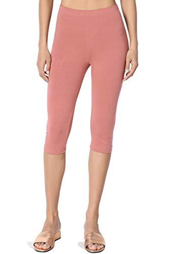 TheMogan Women's Basic Cotton Spandex Below Knee Length Leggings Dusty Rose S