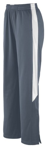 Augusta Sportswear Womens Brushed Tricot Pant, Graphite/White, Medium