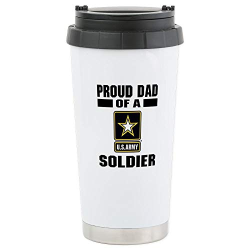 (CafePress Proud Army Dad Stainless Steel Travel Mug, Insulated 16 oz. Coffee Tumbler)