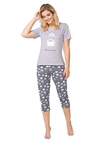 M Donna S di Morbido Amy BeComfy Capri Pigiama XL 2XL Gris Cotone Pantaloni L'estate L Manica per Corta ¾ da Bello EES8qZw6