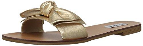 Steve Madden Women's Knotss Flat Sandal Gold Leather aBvnKFs