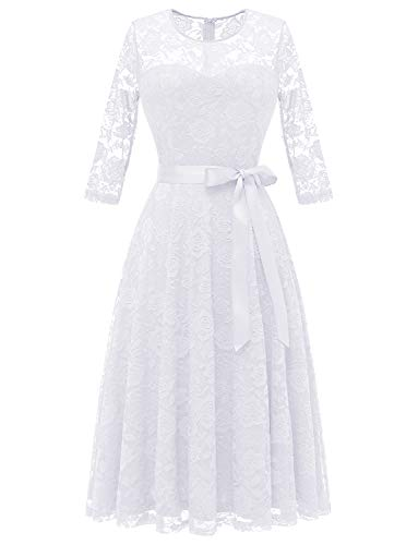 Dressystar 0017 Women's Elegant Floral Lace Dress 3/4 Sleeves Bridesmaid Midi Dresses Illusion Neckline White L