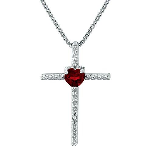 Lavari - .20 Ct Heart Red Garnet and Diamond Sterling Silver Cross Pendant 18