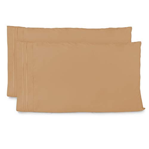 Cosy House Collection Pillow Cases Standard Size - Taupe Luxury Pillowcase Set of 2 - Premium Super Soft Hotel Quality - Cool & Wrinkle Free - Hypoallergenic - Light Brown