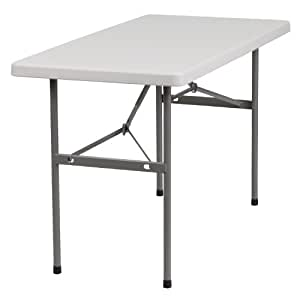 Flash Furniture RB-2448-GG 24-Inch Width by 48-Inch Length Granite Plastic Folding Table, Gray/White