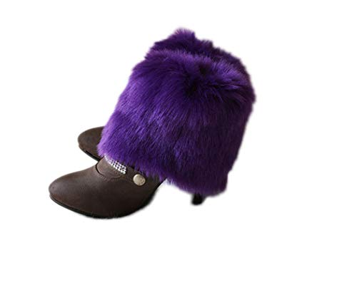 Tngan Womens Faux Fur Leg Warmers Boot Covers Furry Boot Cuff Short Boot Sleeves Violet 15cm