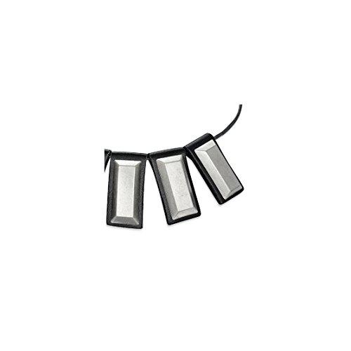 Fashion 2 Color Long Studded Tag Charms Black Leather Collar Bib Choker Length: 21.2