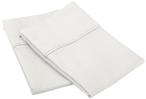 Cotton Blend 800 Thread Count, Soft, Wrinkle Resistant Standard 2-Piece Pillowcase Set, Solid, White (Hill Finish White Spring)