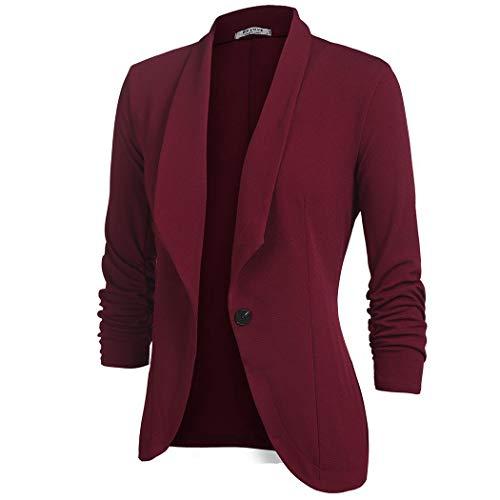 Unibelle Bouton De Femme Veste kaki bleu bordeaux Courte Un Noir Bordeaux Blazer Costume Slim Casual rwTrBzq
