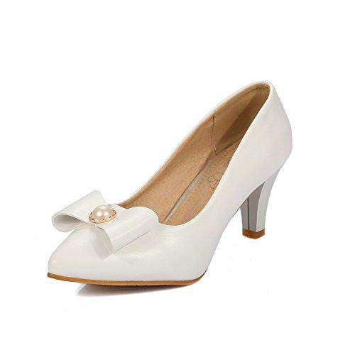 AgooLar Damen Ziehen Auf Pu Spitz Zehe Mittler Absatz Rein Pumps Schuhe Weiß