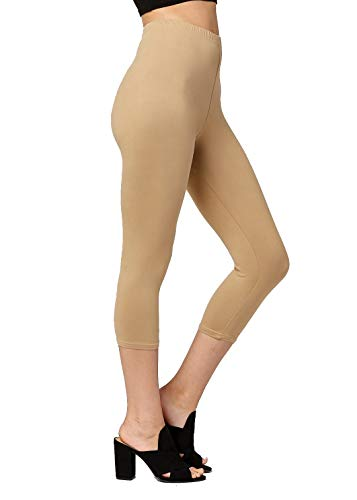 Premium Ultra Soft Womens High Waisted Capri Leggings - Cropped Length - Solid - Beige Khaki - Plus Size (12-24) (Leggings Guess Cotton)