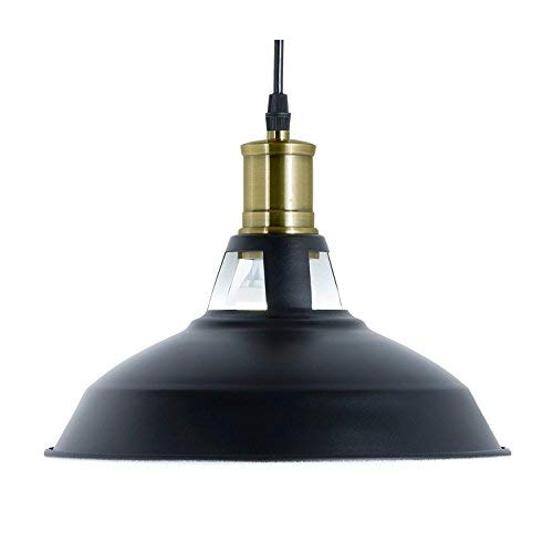 (Light Society Danica Pendant Light, Matte Black Shade with White Interior and Antique Brass Finish, Vintage Modern Farmhouse Lighting Fixture (LS-C102))
