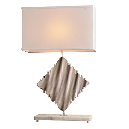 Global Views Modern Metal Rods Diamond Shape Table Lamp | Silver Square White Nickel Lines (Harlequin Traditional Table Lamp)
