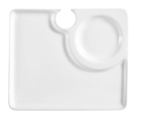 CAC China COL-P2 Party Plate 9-Inch by 7-3/4-Inch Super White Porcelain Rectangular Party Platter with Wine Glass Hole, Box of 24 by CAC China