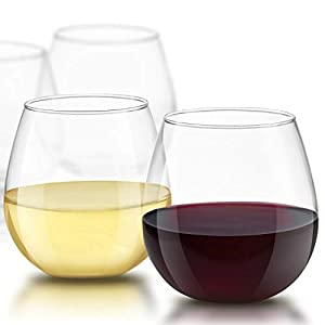 JoyJolt Spirits Stemless Wine Glasses for Red or White Wine (Set of 4)-15-Ounces 4