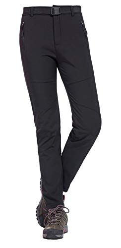 Geval Women's Outdoor Windproof Waterproof Softshell Fleece Snow Pants (M,Black)