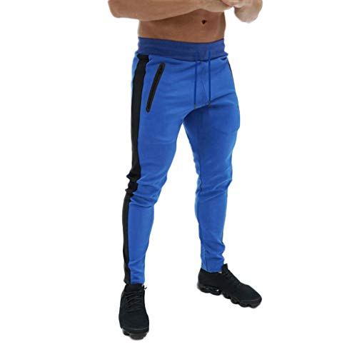 Men's Gym Jogger Pants Slim Fit Workout Running Sweatpants with Zipper Pockets Drawstring Tapered Chino Trousers Blue