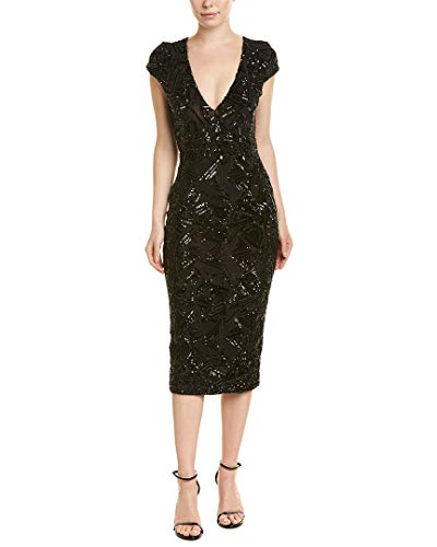 Dress the Population Women's Allison Plunging Sequin Fitted Midi Cap Sleeve Sheath Dress, Black Geo, - Sequin Skirt Lace