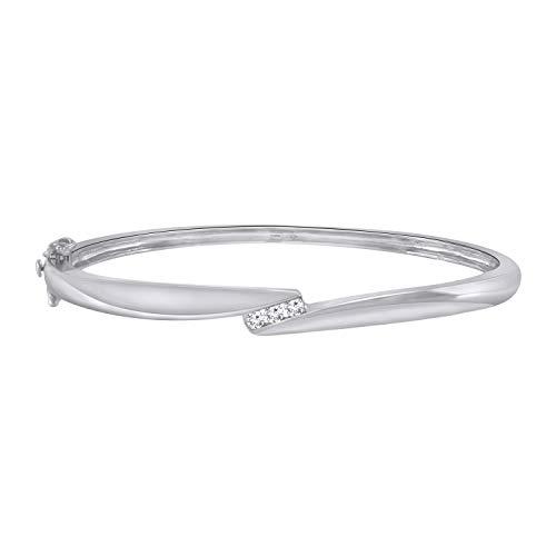 - Trillion Jewels 0.16 CT (Clarity I1-I2/Clor I-J) Natural Diamond 14K White Gold Fn Bangle Style Bracelet