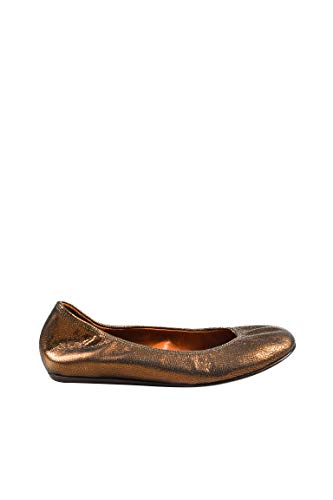 - LANVIN Women's Bronze Leather Embossed Ballerina Flats SZ 36
