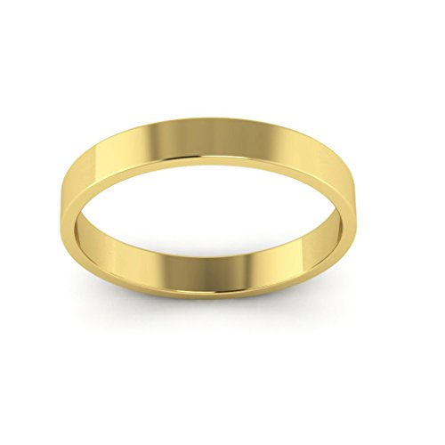 14K Yellow Gold men's and women's plain wedding bands 3mm light flat, 5 by i Wedding Band (Image #3)
