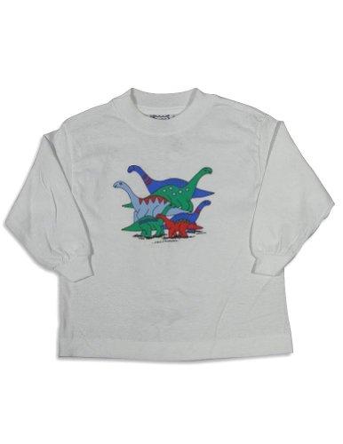 Mis Tee V-Us - Baby Boys Long Sleeve Brontosaurus Dinosaur T-Shirt, White 27078-18Months