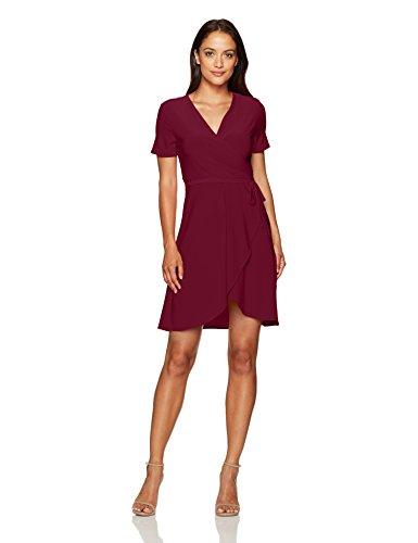 Star Vixen Women's Petite Short Sleeve Ballerina Wrap Dress, Burgundy, PL (Petite Short Sleeve Wrap)